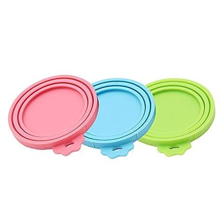 SENDR.KR Tierfutter-Dosendeckel, 3er-Set Universal-Silikon-Dosendeckel f¨¹r Tierfutterdosen, BPA-frei, sp…