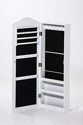 CLP Schmuckschrank SUAREZ mit Spiegel | Spiegelschrank mit Haken für Ketten und Steckplätzen für Ringe Weiß - 6
