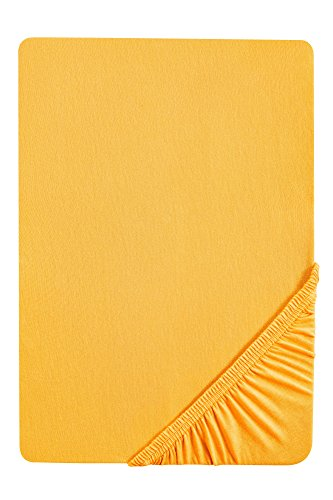 Sábana Bajera Ajustable elástica, para una Cama de 140 x 200 cm hasta 160 x 200 cm, Color Amarillo