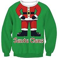 FOOBRTOPOO Novedad Navidad Sudadera navideña para Mujer Cuello Redondo Impreso Pullover Outwear Tops Manga Larga O-Cuello Sport Jumpers Blusa -S (Color : Green and Red, tamaño : XL)