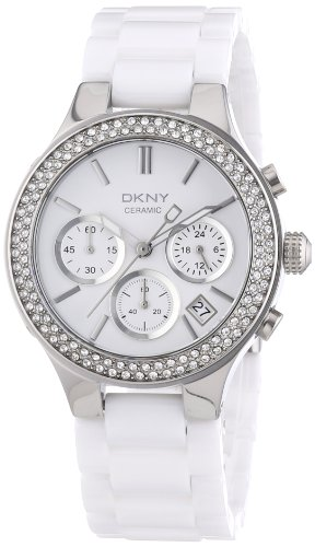 DKNY Ladies Watch NY4985 with White Dial and White Ceramic Strap
