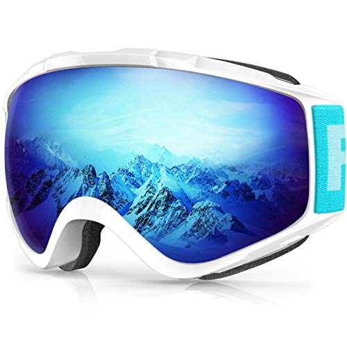 Maschera da Sci,Findway Occhiali da Sci per Uomo Donna Teenager OTG Maschere Sci Compatibile con Casco,Anti Nebbia 100% Anti-UV Maschera Sci ,Adatto a Snowboard ,Motocross e Altri Sport Inv