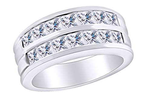 AFFY - Gold 14 Karat (585) 14kt Weiß-Gold Prinzessschliff Leicht Getöntes Weiß/Crystal (J) Diamant (Ringe 14kt Herren Gold)
