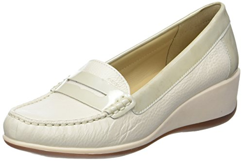 Geox D Arethea B, Mocasines Mujer, Blanco Off White