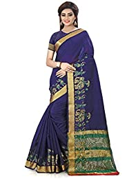 DIEGO Women's Navy Blue Designer Cotton Silk Saree With Blouse Piece(Jacquard Design)