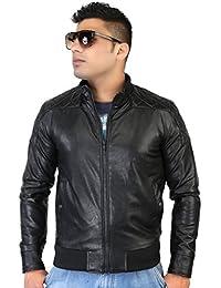 Caveliro Men's Black Diamond Stitched Rib Faux Leather Biker Jacket