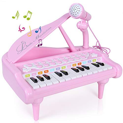 SGILE Spielzeug Keyboard mit Mikrofon, Tragbar Kinder Klavier Piano Standkeyboard mit 24...