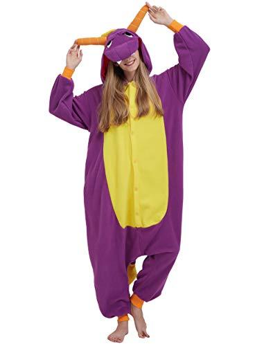 Jumpsuit Onesie Tier Karton Kigurumi Fasching Halloween Kostüm Lounge Sleepsuit Cosplay Overall Pyjama Schlafanzug Erwachsene Unisex Lila Drache for Höhe 140-187CM (Lila Drachen Kostüm)