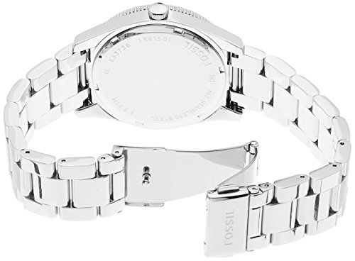 Fossil Women's Quartz Watch with White Dial Analogue Display and Silver Stainless Steel ES3728