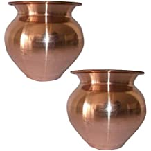 SHIV SHAKTI ARTS 3.5 * 3.25 * 3.5 IN Handmade 100% Pure Copper Pot Volume 300 ML set of 2 Small copper pooja kalash For Yoga Surya Namskar Storage Water Indian Yoga Ayurveda For Good Health