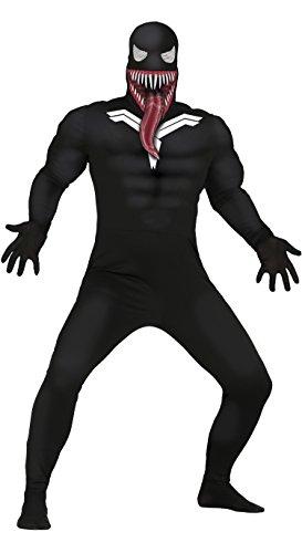 Guirca costume vestito abito travestimento carnevale halloween adulto supereroe oscuro, venom, cattivo spiderman - taglia m (48-50)