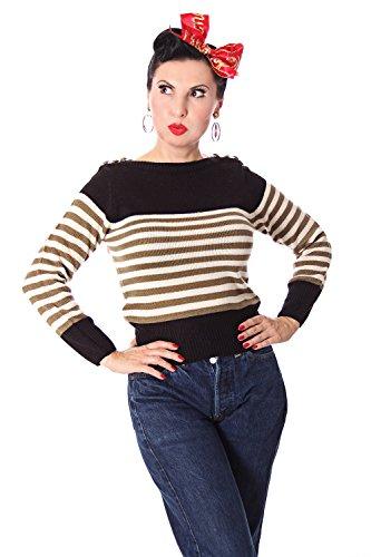 SugarShock Damen Strick Pullover Letty gestreift, Farbe:Schwarz, Größe:M/L (40-42)