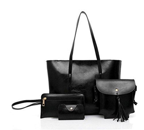 ZXH neue europäische und amerikanische Mode Handtaschen retro Öl Wachs Leder Mutter Tasche Vier-Schulter tragbare Schulter Messenger Bag , B (Handtasche Kosmetiktasche Bow)