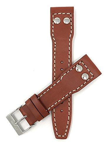 Leder Uhrenarmband 20mm für IWC Pilot, Dunkel Hellbraun, Nieten, Schließe Edelstahl, auch verfügbar in schwarz und Hellbraun (Iwc-uhr)