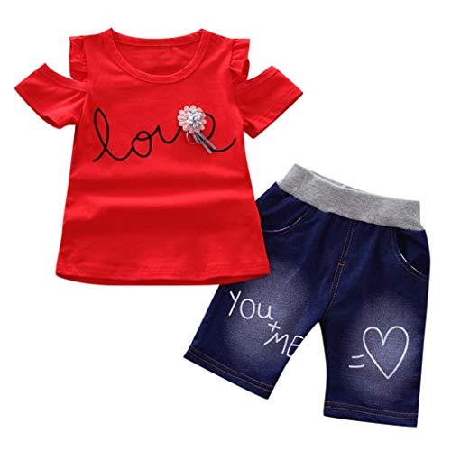 Kleid Sommer Baby(12M-3Y),Quaan Kleinkind Kinder Baby Mädchen Bow Tie Off-shoulderT-Shirt Tops + Jeans Hose Kleidung Set