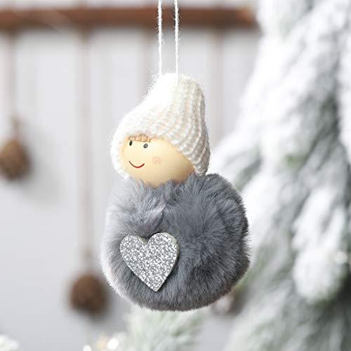 Gaddrt Christmas Weihnachten Plüsch Ball Anhänger niedlichen Mini Schneemann hängen Pom Pom Puppe Anhänger (Gray)