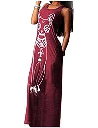 Longra Robe Femmes Casual sans manches Boho Long Cocktail Party Beach Dress
