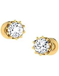 Dishis Designer Jewellery 18KT Yellow Gold and Diamond Stud Earrings for Women