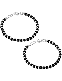 Oddrush genuine 925 sterling silver baby bracelets kada bangle nazariya With Black Beads / crystal for baby boy and girl