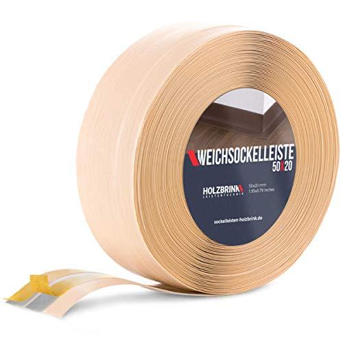 HOLZBRINK Weichsockelleiste selbstklebend KIEFER Knickleiste, 50x20mm, 20 Meter