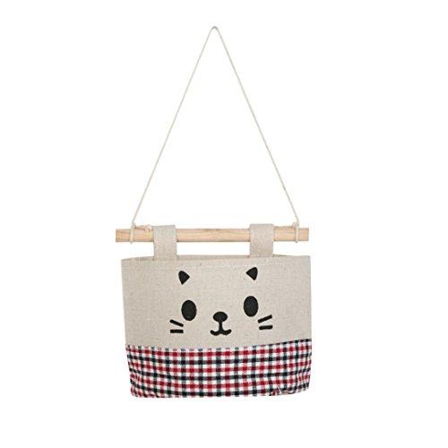 zycshang 15x 13,5cm New Baumwolle Cute Cartoon Katze wasserdichte Hanging Aufbewahrungstasche Schmutz Tasche Wand Kombination multi (Schuhe Walker Leben)