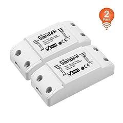 Idea Regalo - 2 Pack-SONOFF BASICR2 10A Interruttore Intelligente Luce Wireless WiFi, Modulo Universale Fai-da-te per Soluzioni di Automazione della Casa Intelligente, è Compatibile con Amazon Alexa e Google Home