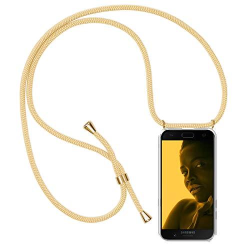 ZhinkArts Handykette kompatibel mit Samsung Galaxy A5 2017 (A520) - Smartphone Necklace Hülle mit Band - Schnur mit Case zum umhängen in Gold