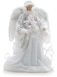 Festive productions ange en velours avec ailes en plumes blanc 30 cm cuisine maison - Ange sapin noel ...