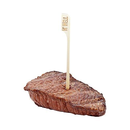 Restaurantware 4-Zoll, umweltfreundlich Medium Steak Marker-nachhaltig Bambus Paddel Spieß-Einweg und recyclebar-1000-ct Medium gut durch rot Steak Marker