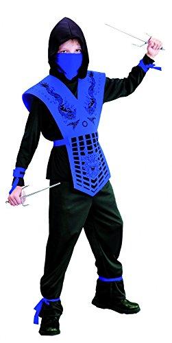 Foxxeo schwarz blaues Ninja Kostüm für für Jungen schwarzes Ninjakostüm Kinderkostüm Größe 110-116 (Blau Ninja Kostüm)