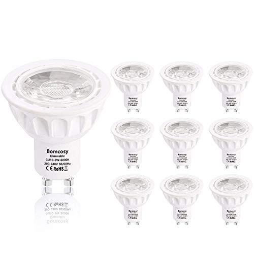Bomcosy GU10 LED Lampen Dimmbar 6W Ersatz für 50W Halogen Glühbirne kaltweiß 6000K 540 Lumen AC200-240V 35 Grad Abstrahlwinkel 10 stück