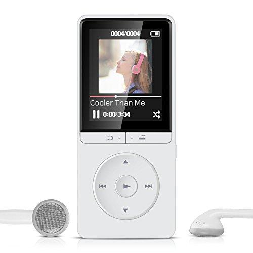 16GB Lossless MP3 Player mit FM Radio und Aufnahmefunktion, 1.8 Zoll TFT Display Sport Musik Player, 70 Stunden Wiedergabe, von AGPTEK A20S, Weiß