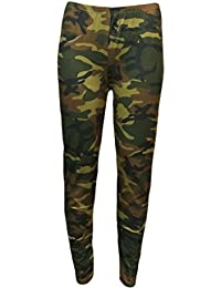 New Womens Ladies Green Camo Camouflage Army Leggings Trousers Pants 8-22
