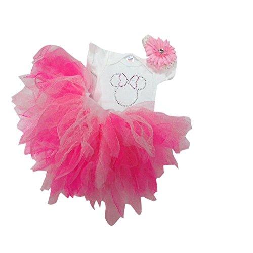White Minnie Mouse Sparkle Baby Grow & Pink Tutu Skirt Set (1 -2 yrs) Sparkle Tutu