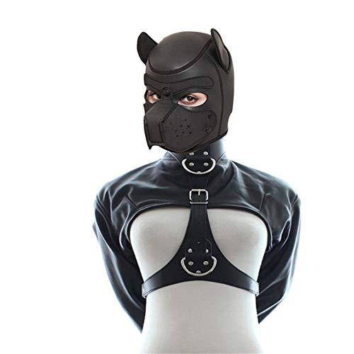 LIULIU Puppy Play Dog Hood Mask & PU Leder Zwangsjacke Spielzeug Sex Cosplay, Set Fetisch Hood Pet Role Play Sexy Kostüm für Paare