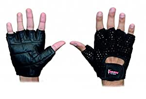 BOOM Pro Gym Gloves,Pure Cow Hide Hand Woven Fitness,Excercise Gloves,Weight Lifing (M)