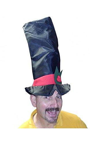 Cappello per Natale Maxi Cilindro Tubo di Stufa Nero. In sintetico, con fascia rossa e fiocco a foglia di vischio di panno. Va imbottito di carta per farlo rimanere bello alto ed