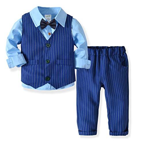 ALISIAM Winter Weihnachten Kind Junge Mode Freizeit Gemütlich Gestreifte Weste Hemd und Hose Gentleman Kleid Party Kleid Passen Kinderkleidung