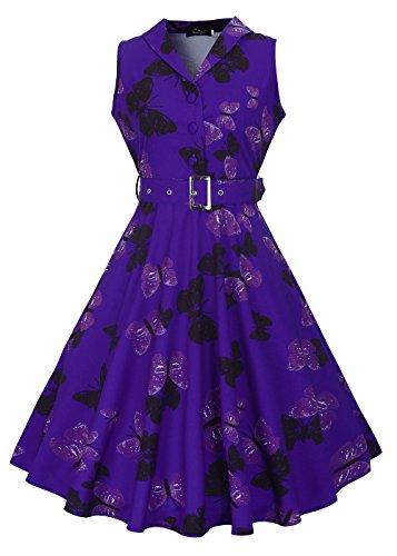 Vestito da donna anni '50 senza maniche con scollo a V Rockabilly Vintage con cintura rimovibile Butterfly-blu