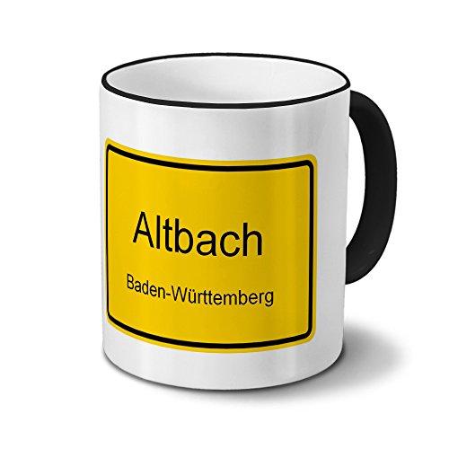 Städtetasse Altbach - Design Ortsschild - Stadt-Tasse, Kaffeebecher, City-Mug, Becher, Kaffeetasse - Farbe Schwarz