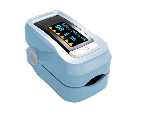 Finger-Pulsoximeter mit LED-Anzeige Alarm-Blutdruckmessgerät Finger-Pulsoximeter Blutdruckmessgerät Medizinische Portable Sphygmomanometer Sauerstoffsättigung Herzfrequenz-Messgerät ( Color : Sky blue ) (Digital Blue Sky)