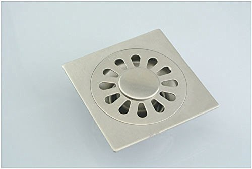 Edealing Bad Küche Dusche Edelstahl-Chrom-Quadrat-Fußboden-Abfall Bodenablauf