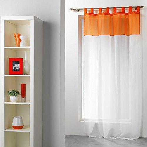 Douceur d' interno duo pannello con passanti, poliestere, bianco/mandarino, 240x 140cm