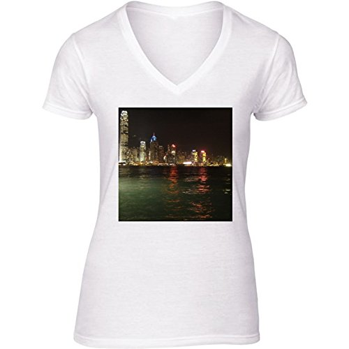 t-shirt-pour-femme-blanc-col-v-taille-s-hong-kong-horizon-by-cadellin