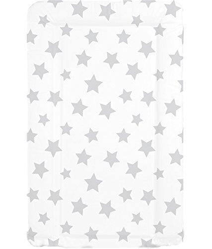 Deluxe unisex bebé impermeable cambiador con bordes doblados–Único Color Blanco con gris diseño de estrellas