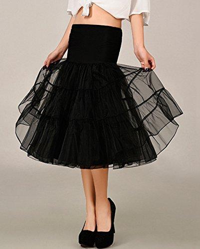 FEOYA 50er Jahre Vintage Petticoat Reifrock Retro Unterrock Underskirt Wedding Bridal Petticoat für Rockabilly Kleid in Mehreren Farben Schwarz