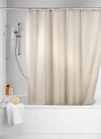Wenko Anti-Schimmel Duschvorhang Uni Beige, Anti-bakterieller Vorhang für die Dusche inkl. 12 Duschvorhangringen, Blickdichter Vorhang in Beige - aus 100% Polyester, 180 x