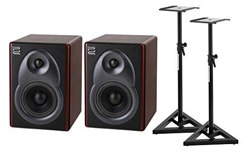 Mahagoni Stativ (Pronomic M5B Studio Aktivmonitore SET (2-Wege-System, Gehäuse mit Mahagoni-Applikationen, 75 Watt RMS, inkl. Stativen) schwarz/braun)