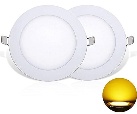 NRG Clever® RPA18WW, Pack of 2 Units, Mini recessed light, downlight bulbs LED 18W, outside diameter 225mm, 1620 Lumen, Ultra Slim Round, Energy Saving Panel Ceiling Lamp 3000K Warm