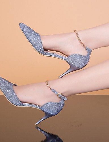 LFNLYX Chaussures Femme-Habillé-Noir / Rose / Argent / Gris / Or-Talon Aiguille-Talons / Bout Pointu / Bout Fermé-Sandales-Similicuir Silver